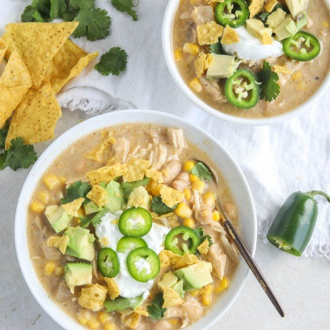 two bowls of white chicken chili