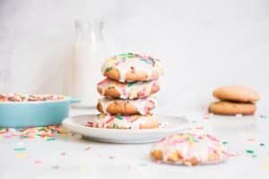 stack of funfetti cookies