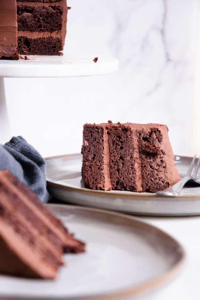 slice of healthy chocolate cake