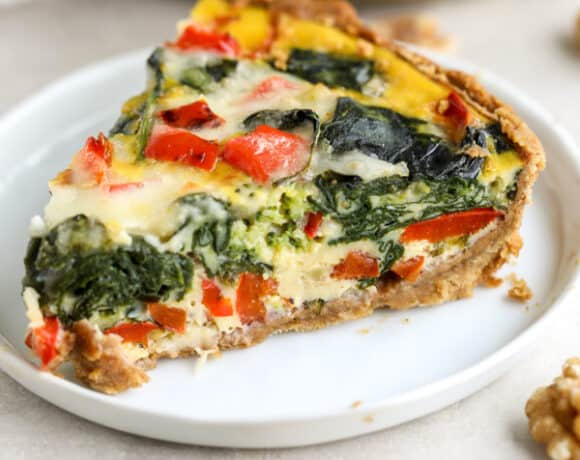 slice of veggie quiche