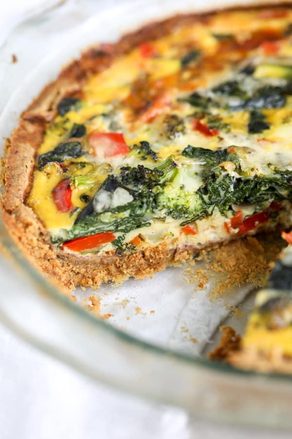 veggie quiche in dish