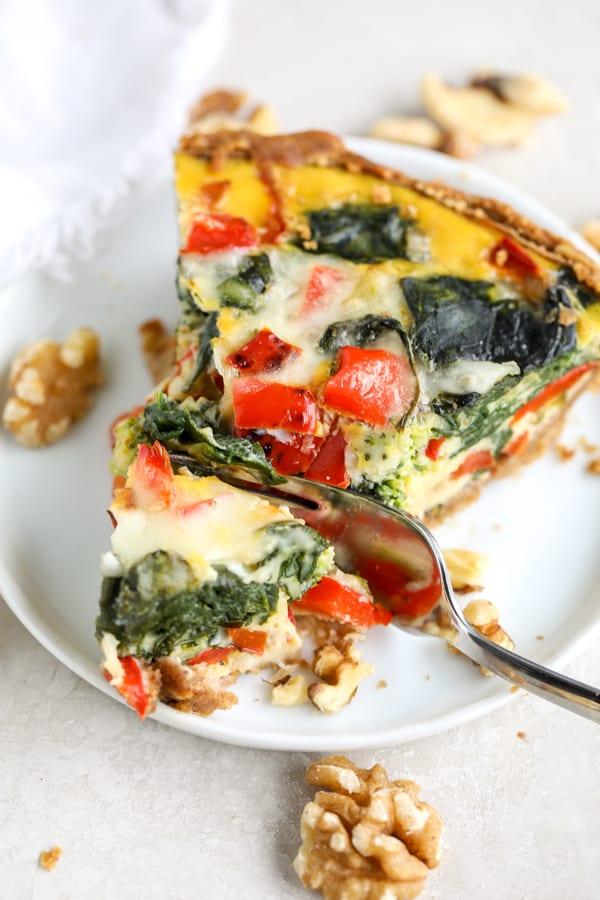 slice of veggie quiche