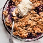 healthy blueberry crisp with ice cream