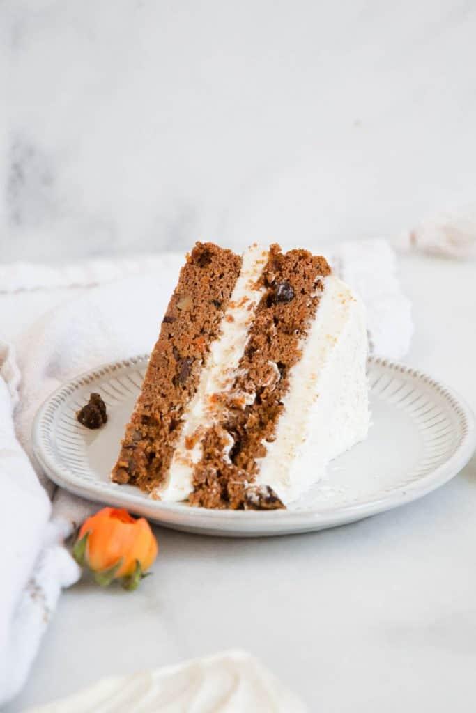 slice of carrot cake on plate