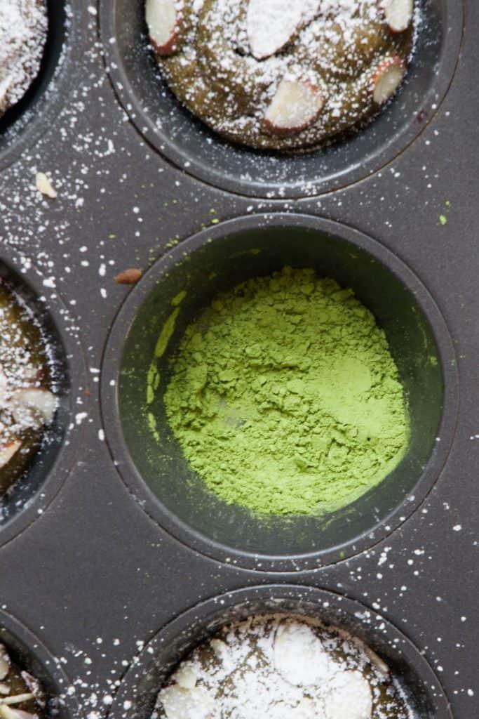 matcha in muffin tin