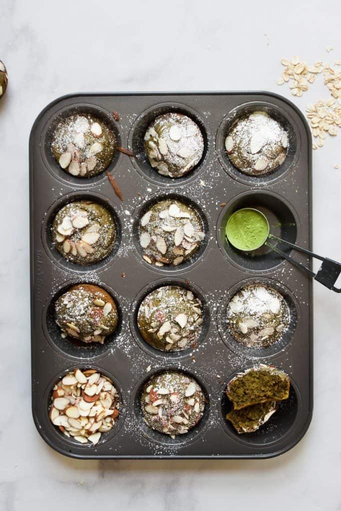 matcha muffins in tin