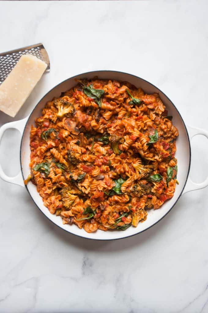 one pot pasta in saucepan