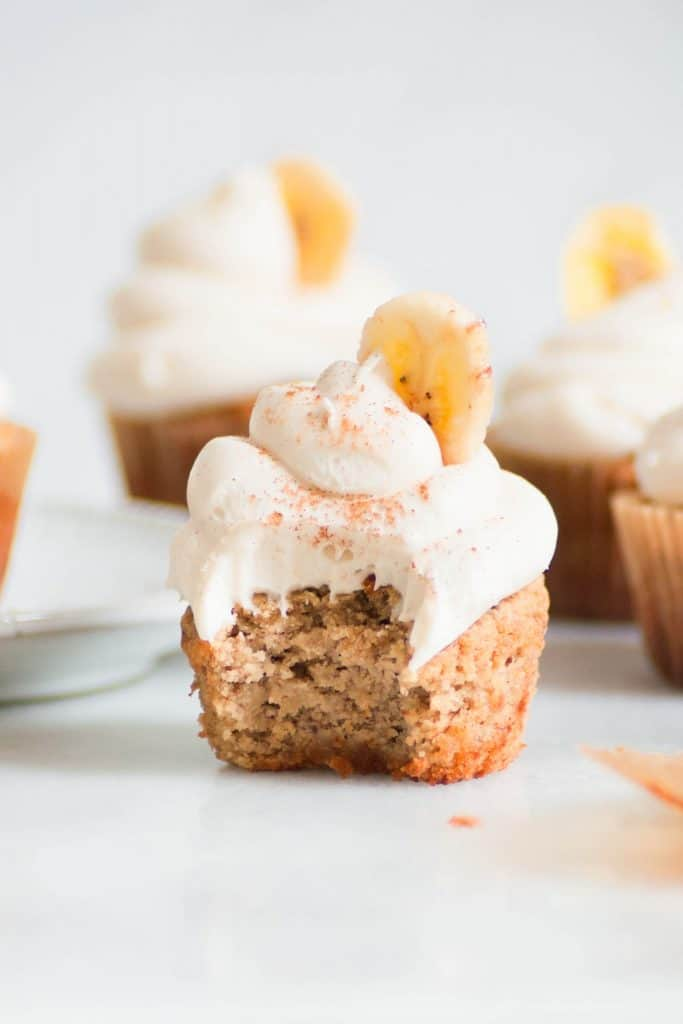 bite into healthy banana cupcake