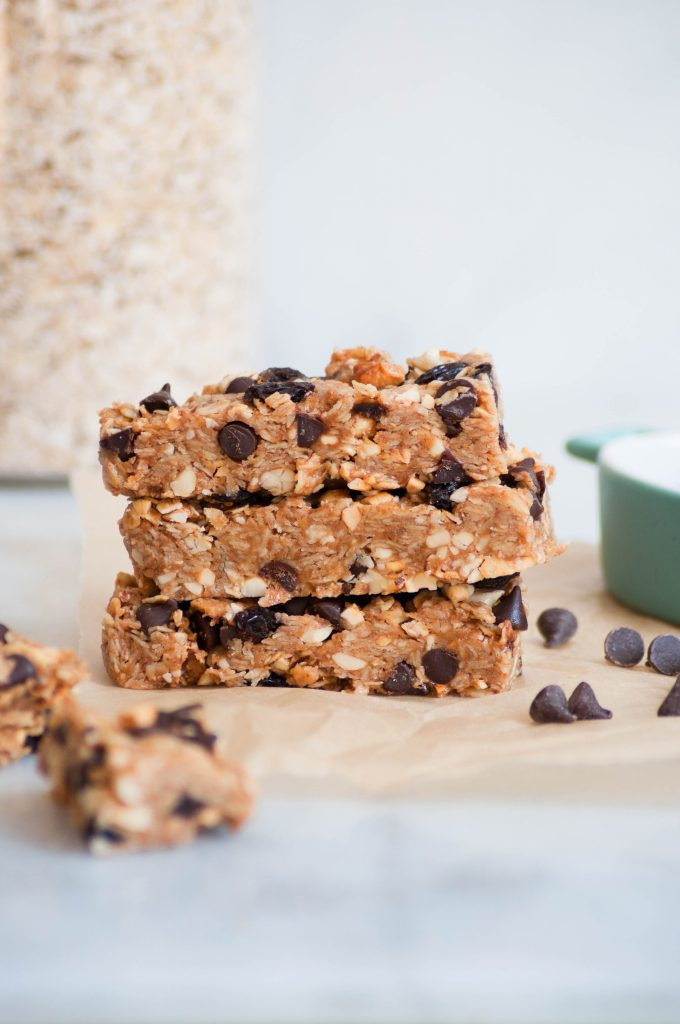 homemade healthy granola bars stacked