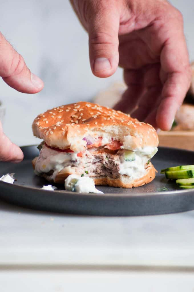 grabbing turkey burger