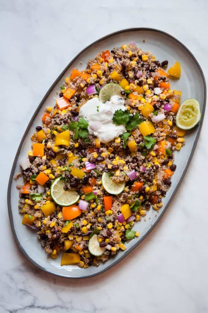 mexican quinoa salad on plate