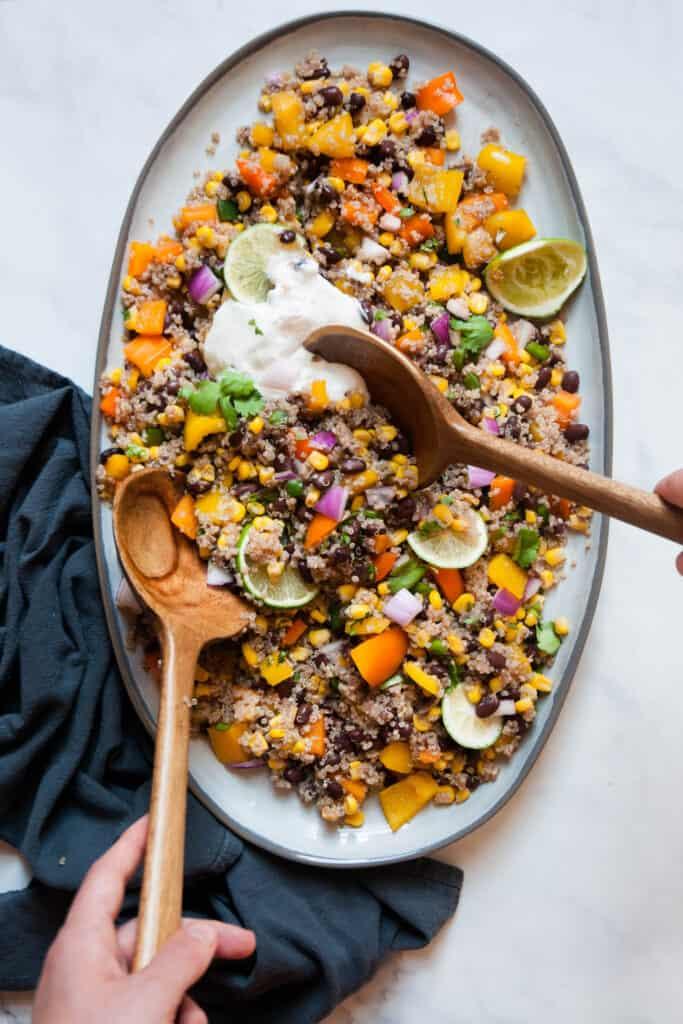 serving mexican quinoa salad