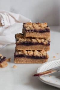 stack of peanut butter and jelly bars