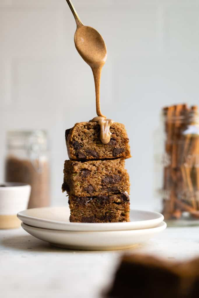 drizzle peanut butter on zucchini cake