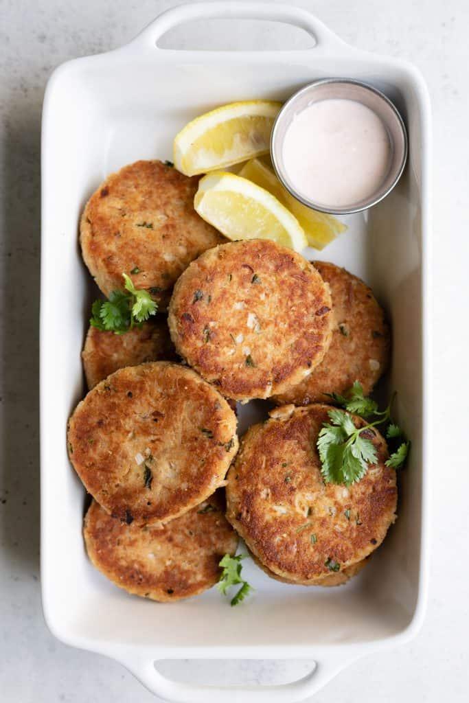 tuna patties in a dish