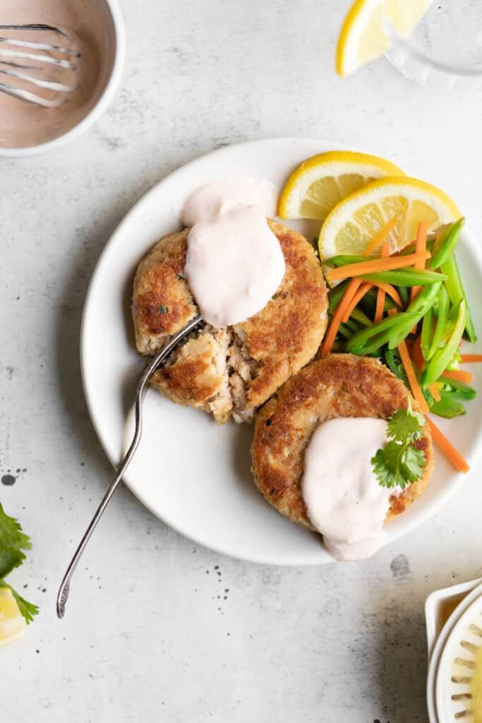 fork in tuna patties