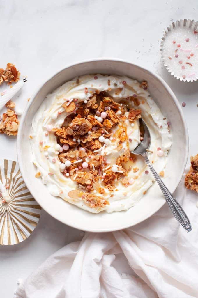 healthy birthday cake granola in bowl