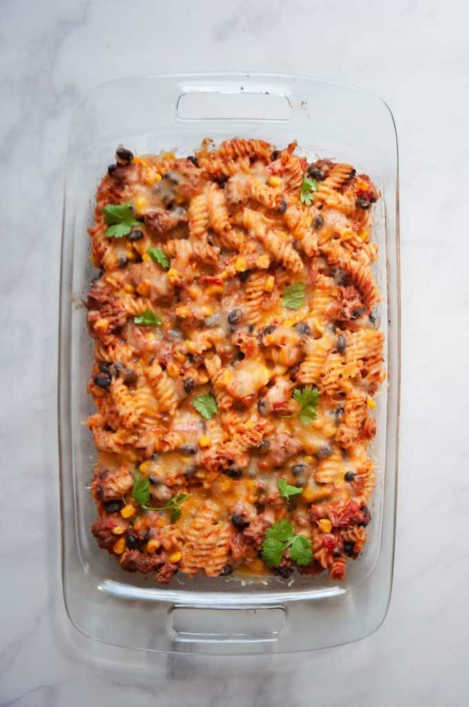 healthy taco pasta in dish