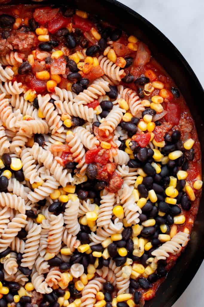making taco pasta