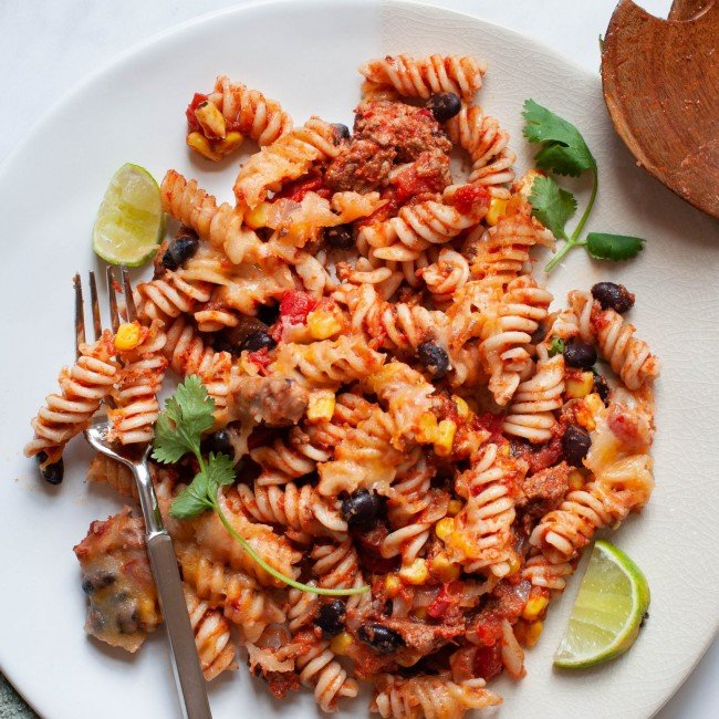 healthy taco pasta