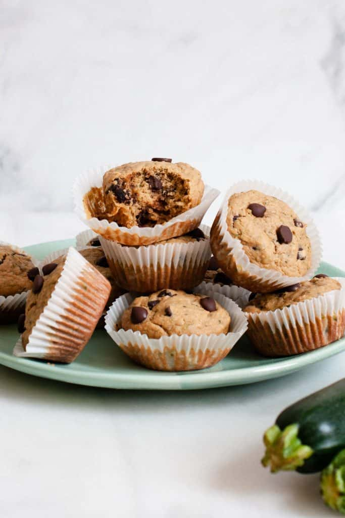 healthy zucchini muffins on plate