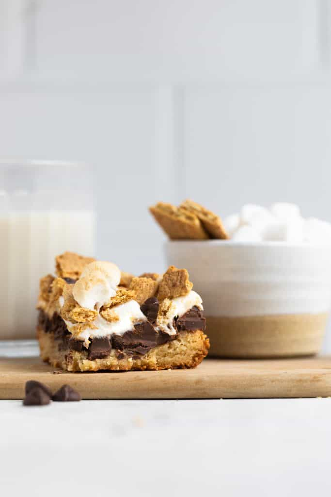 healthier smores bars on tray