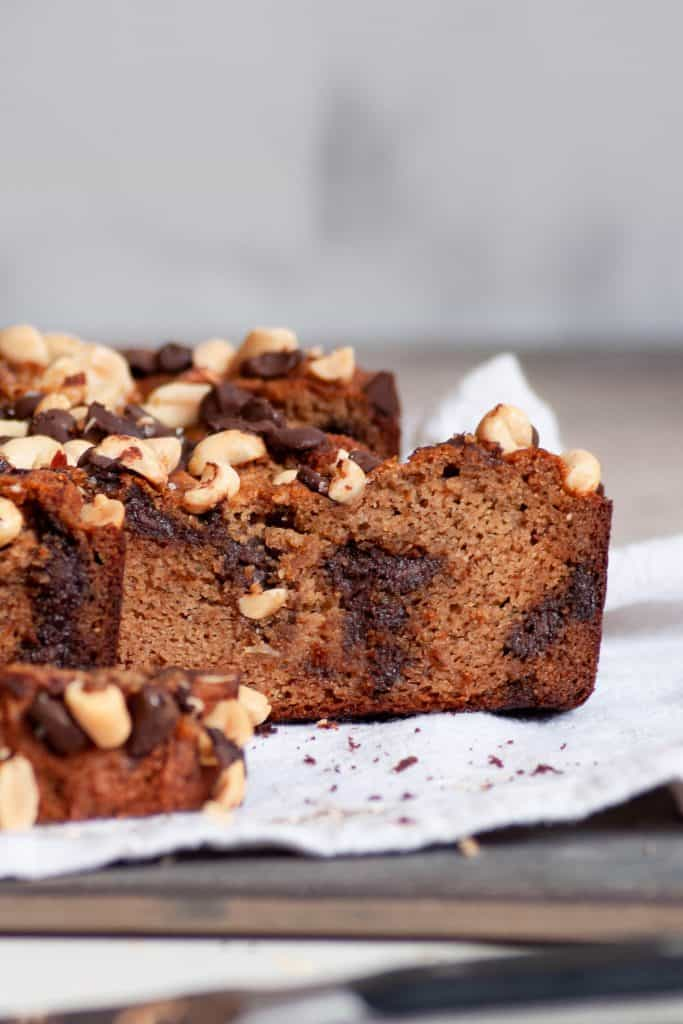 slices of healthy peanut butter banana bread