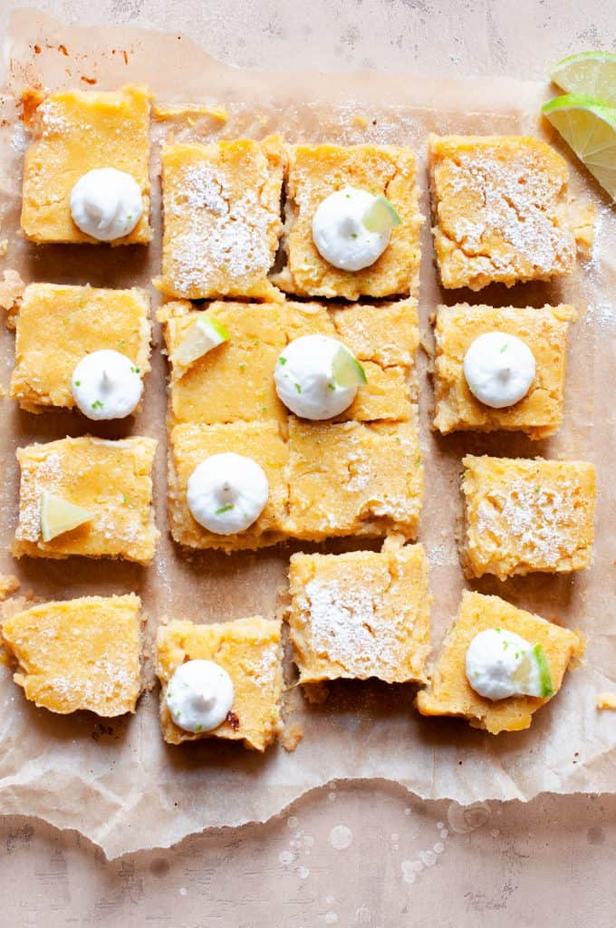 healthier key lime pie bars with powdered sugar