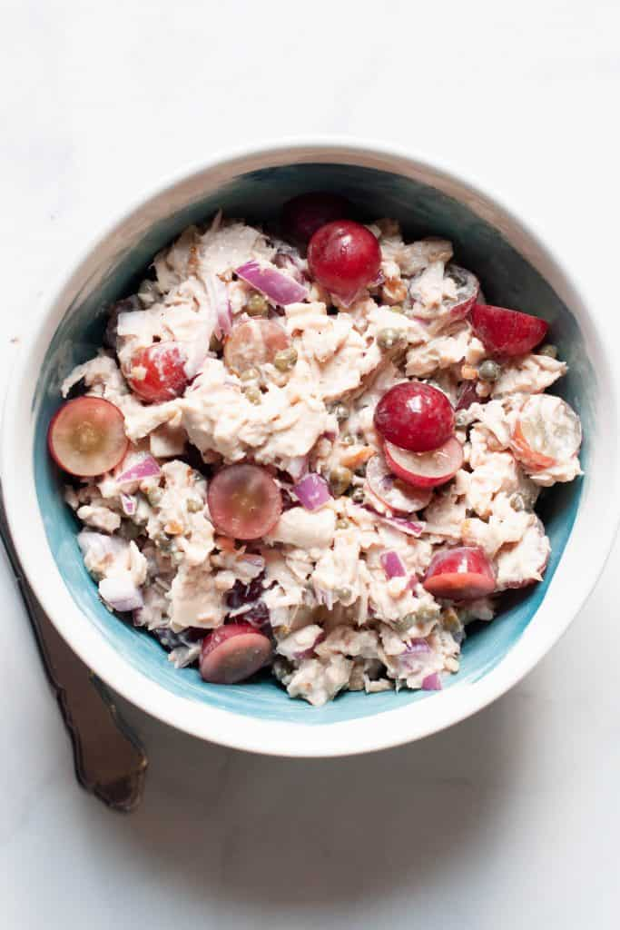 bowl of mediterranean tuna salad