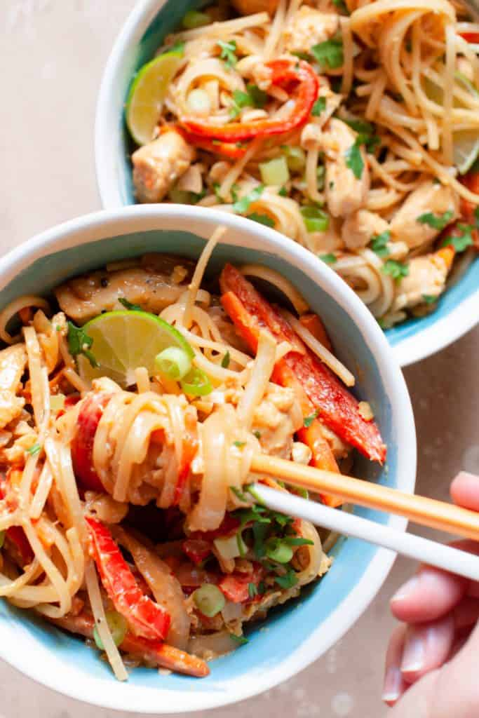 healthy peanut pad thai