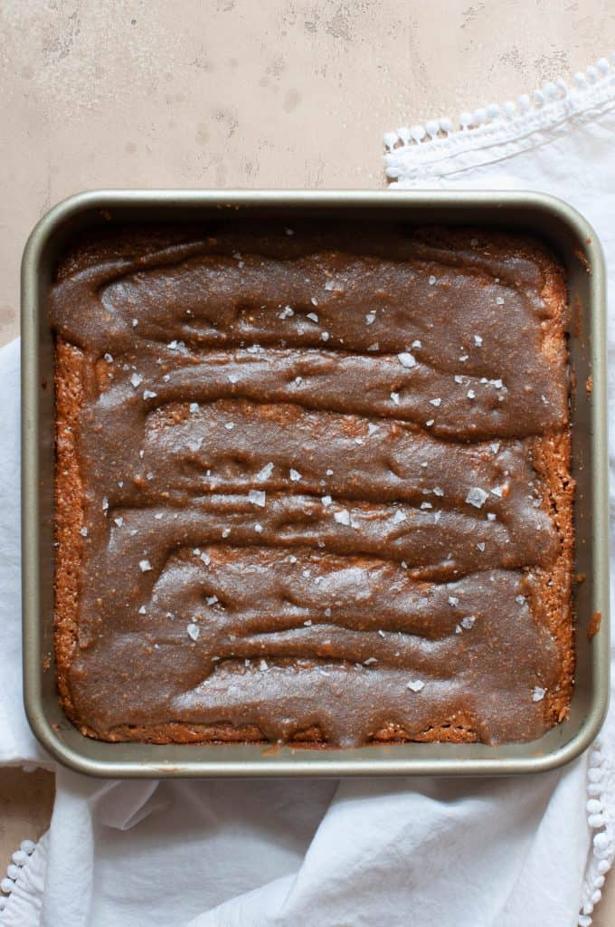 salted caramel blondies in pan