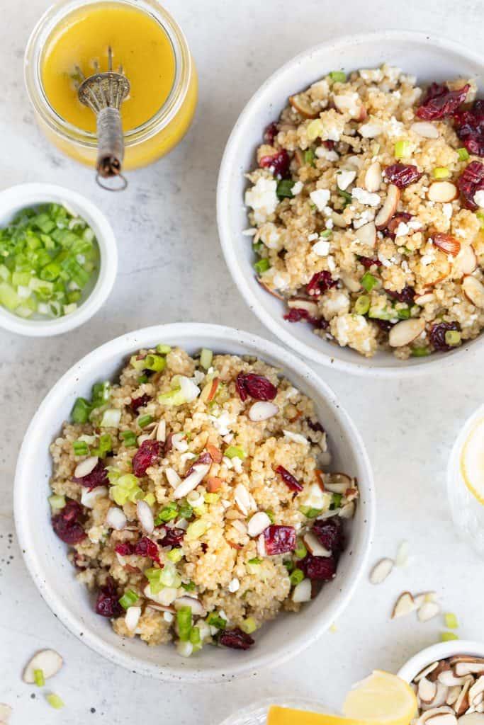 cranberry quinoa salad in bowls
