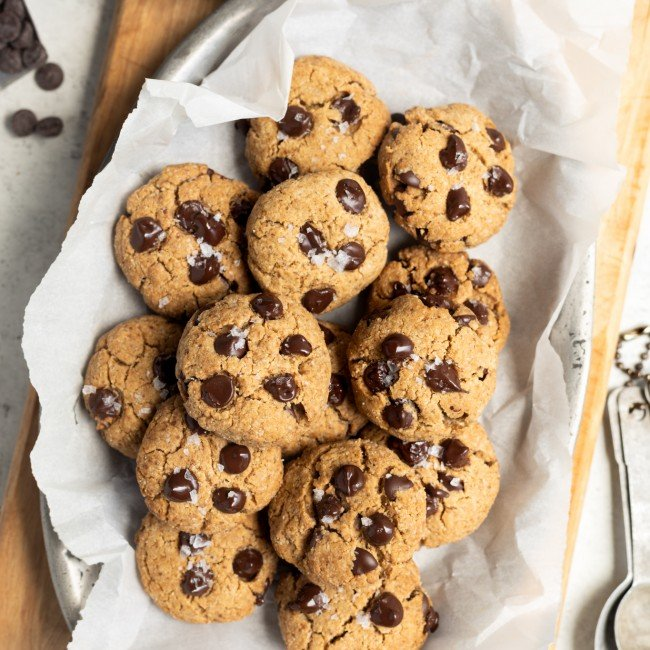 healthy peanut butter chocolate chip cookies on tray