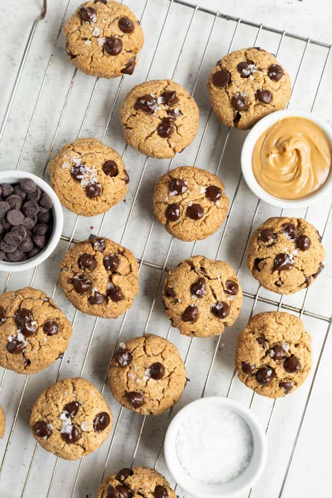 healthy peanut butter chocolate chip cookies on cooling rack