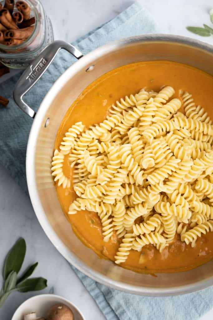 noodles in pumpkin pasta sauce