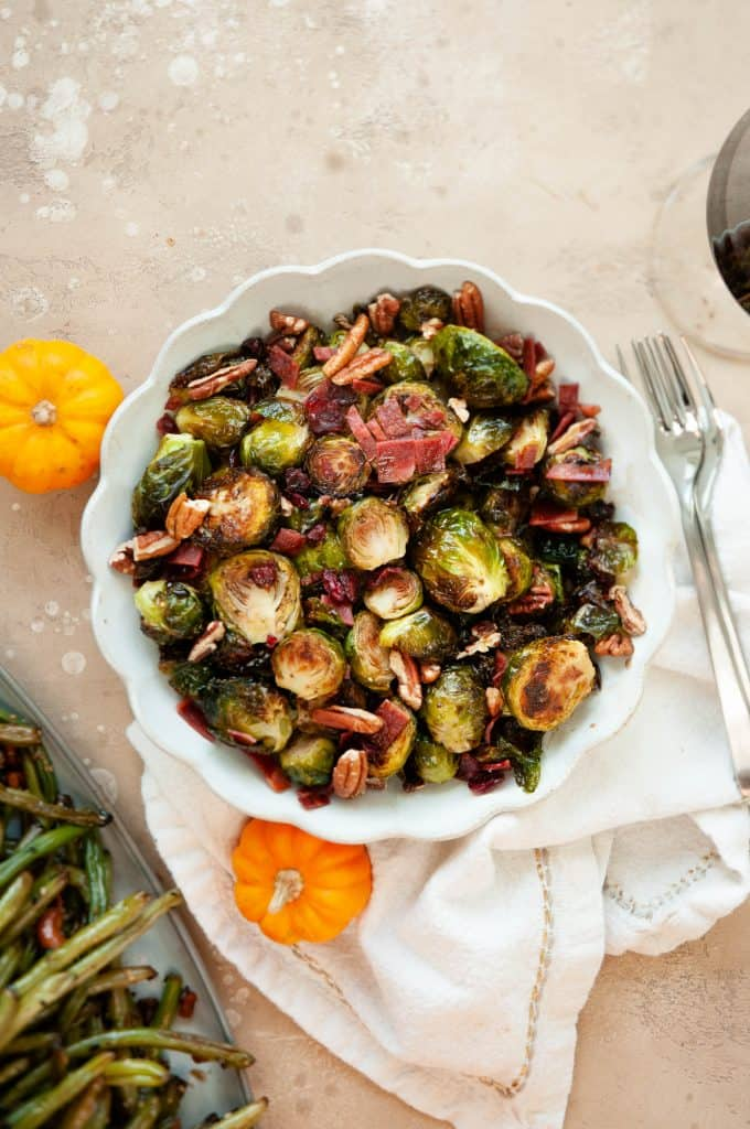 maple balsamic brussel sprouts in bowl