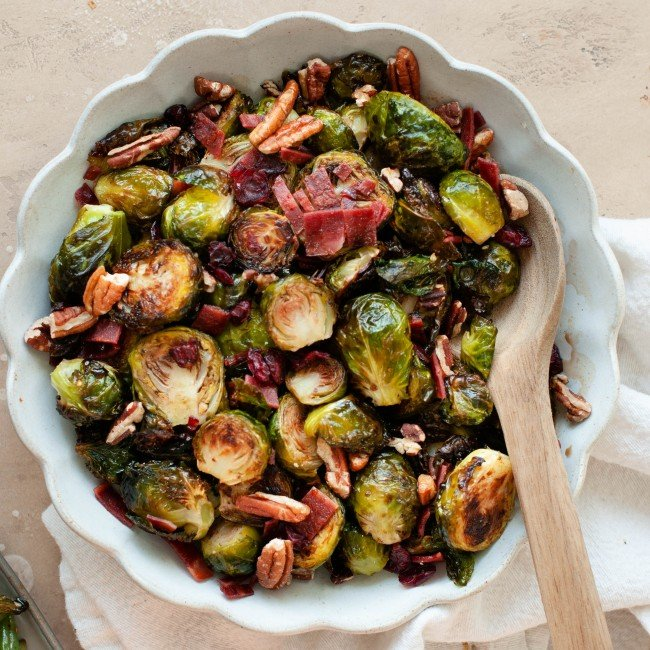 maple balsamic brussel sprouts in bowl with spoon