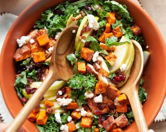 fall harvest salad in bowl