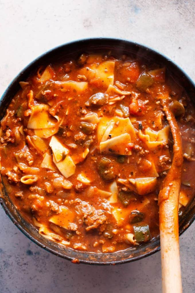 lasagna soup in the pot