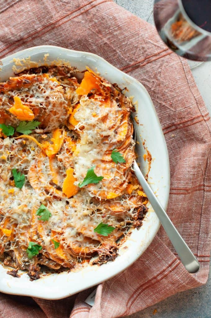 cheesy sweet potato gratin