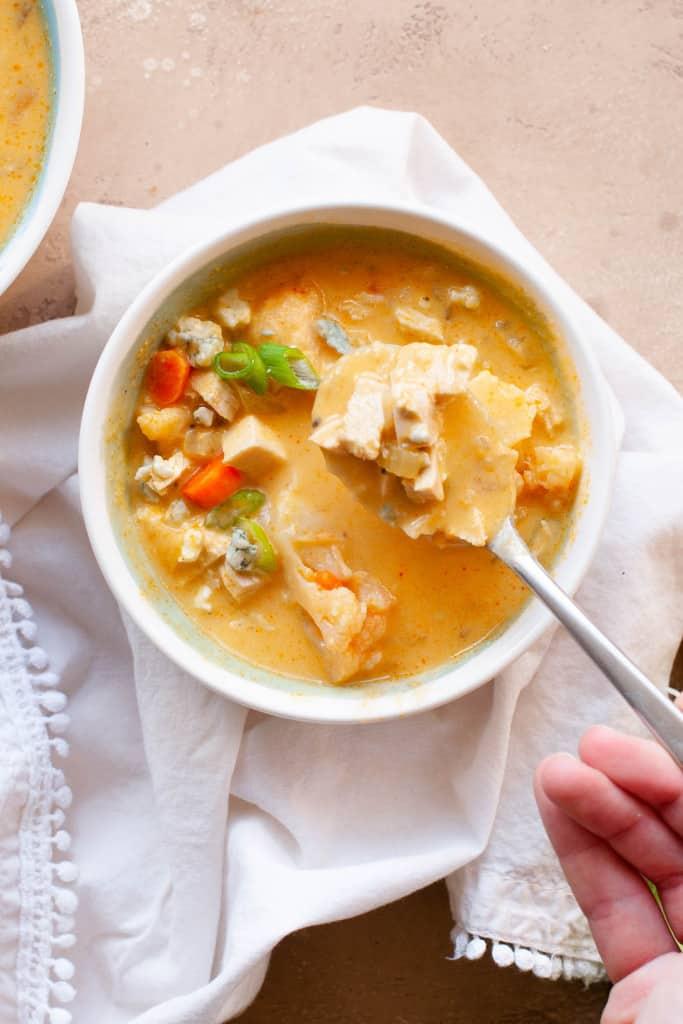 buffalo chicken soup on spoon