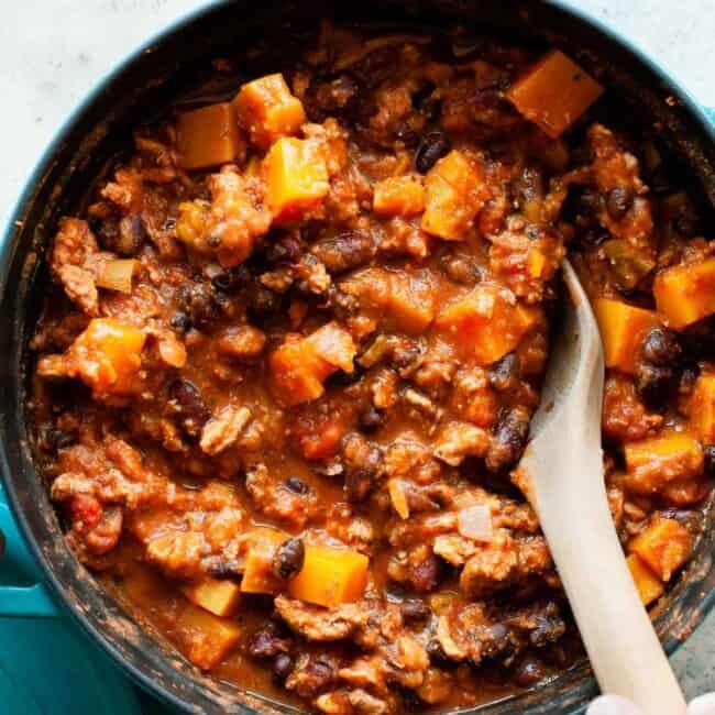 butternut squash chili in pot