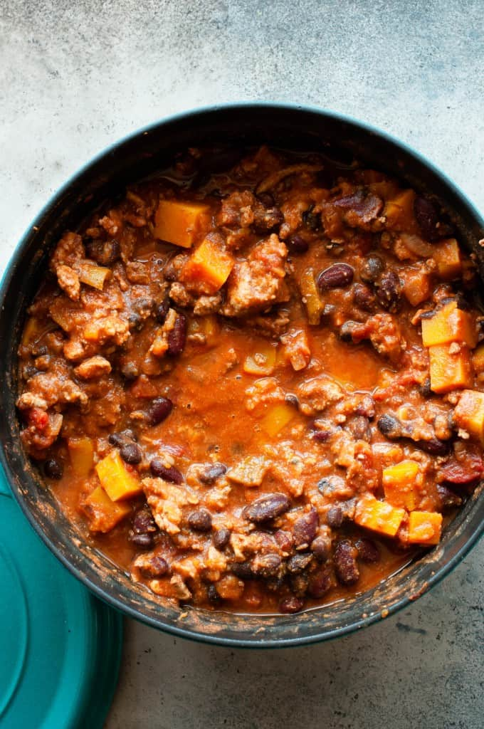 butternut squash chili in pot
