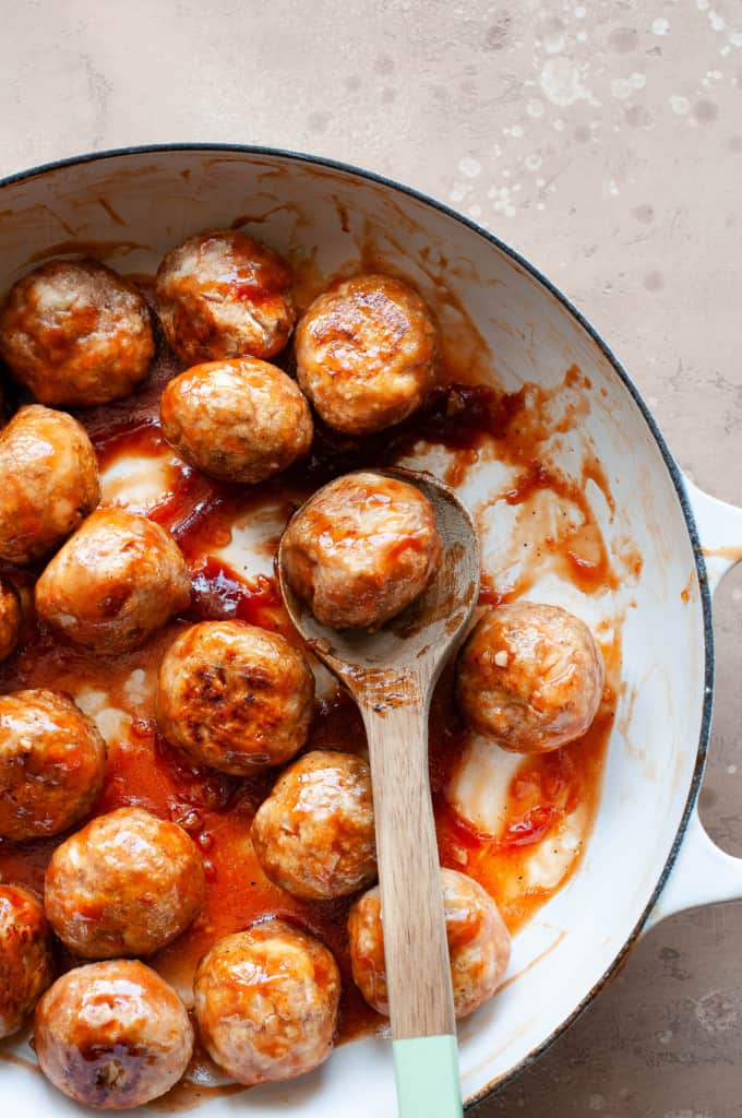 sweet and sour meatballs in pan