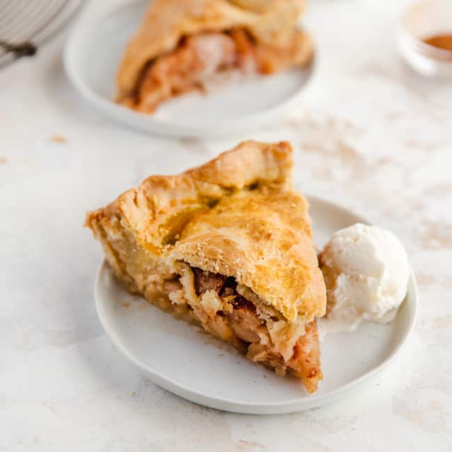 slice of apple pie with ice cream