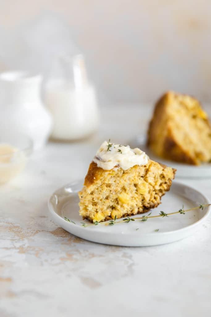 slice of cornbread on plate
