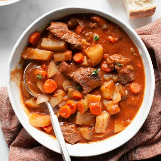 stove top beef stew in a bowl