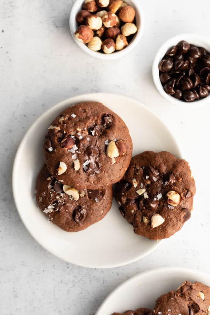 healthy nutella cookies on plate