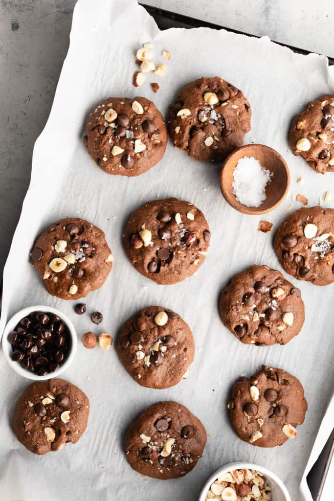 healthy nutella cookies on tray