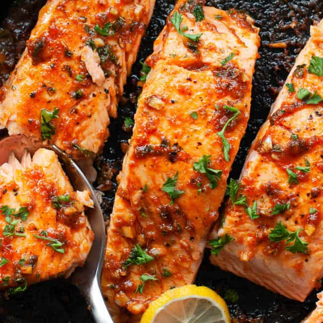 cajun salmon in skillet